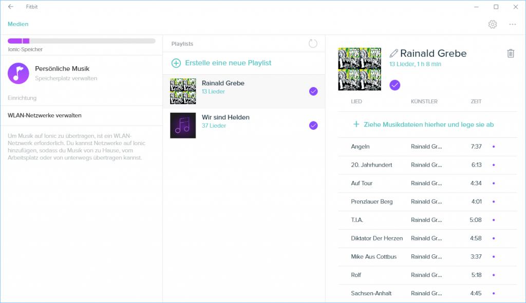 Fitbit Windows App - Übetragen von Musik