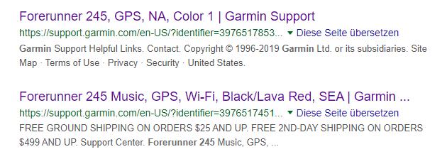 Garmin Forerunner 245 - Hinweise auf Google