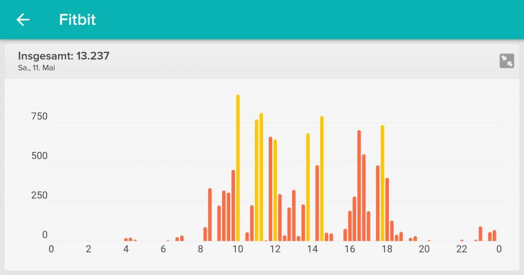 Anzahl Schritte - Tagesstatistik