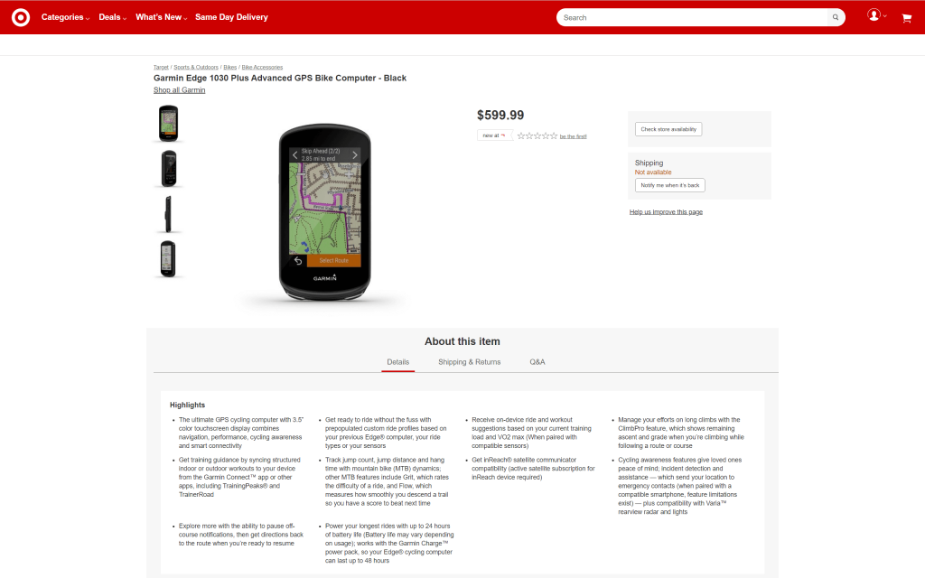 Garmin Edge 1030 Plus - Listed on a retailer's online shop