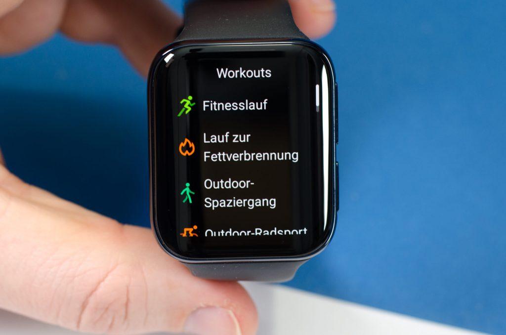 Oppo Watch - Auswahl der Sport-Funktionen