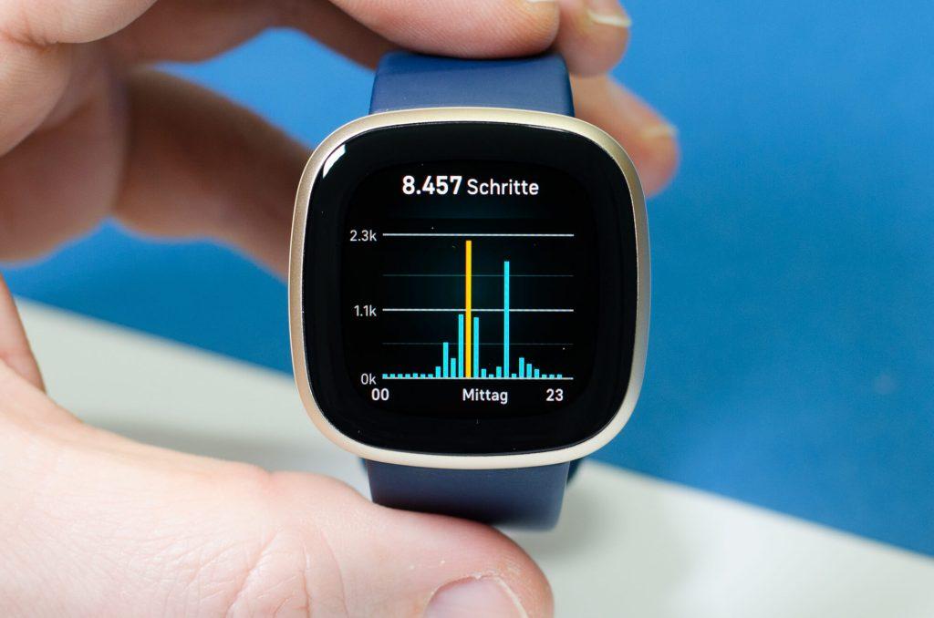 Fitbit Versa 3 - Tagesstatistik für Schritte